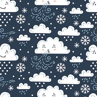 Nahtloses skandinavisches wettermuster. vektorillustration für kinder. kreativer skandinavischer hintergrund für textilien, geschenkpapier, grußkarten oder poster. einer von 12
