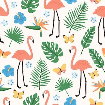 Nahtloses sommermuster mit exotischem dschungellaub, rosa flamingos, exotisch blühenden blumen und schmetterlingen