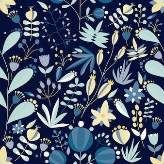 Nahtloses sommermuster mit schönen blühenden gartenblumen, wild blühenden pflanzen und beeren auf blauem hintergrund. netter blumenhintergrund. flache illustration für stoffdruck, geschenkpapier.