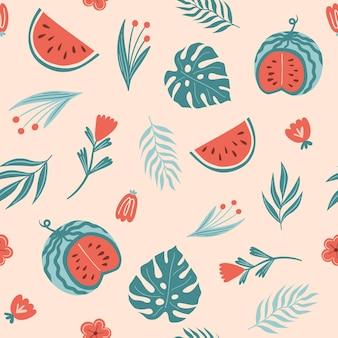 Nahtloses sommermuster mit wassermelonenmonstera-blattfarnpflanzen und -blumen