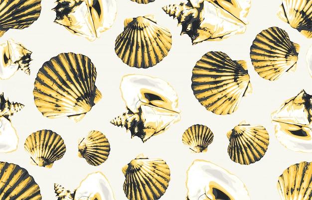 Nahtloses sommerozean-themenorientiertes muschelmuster des gelbtons für tapete oder jedes hintergrunddesignprojekt.