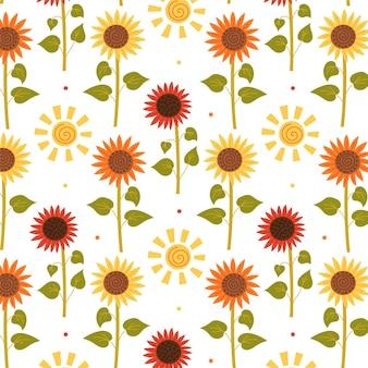 Nahtloses sonnenblumen-sonnenscheinmuster. sich wiederholender hintergrund mit rustikalem motiv. vektor-hand zeichnen papier, kinderzimmer-design-tapete