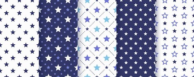 Nahtloses sternmuster. . abstrakte geometrische textur. nette marineblauabdrücke. babygeburtstag einfache tapete mit himmel. farbmonochrome illustration.