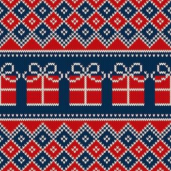 Nahtloses strickmuster der weihnachtsfeiertage mit geschenkbox. strickwolle pullover muster design.