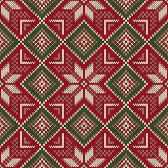 Nahtloses strickmuster der weihnachtsfeiertage. schema für strickpullover-musterdesign und kreuzstichstickerei. wollstrick textur imitation.