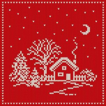 Nahtloses strickmuster der winterferien. nahtloser hintergrund für weihnachten und neujahr