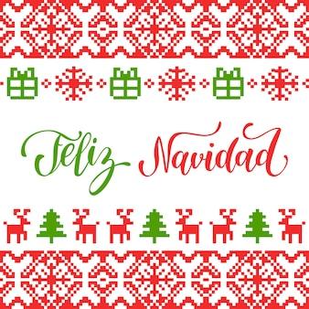 Nahtloses strickmuster mit schriftzug feliz navidad übersetzte frohe weihnachten.