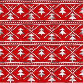 Nahtloses strickmuster. textur mit weihnachtsthema stricken.
