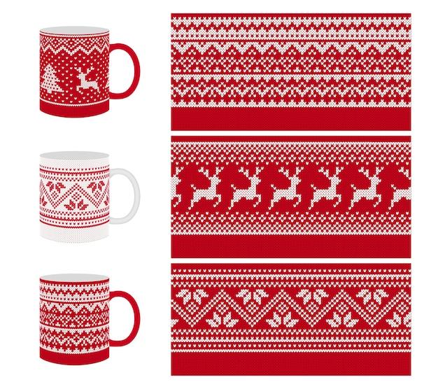 Nahtloses strickmuster. texturdruck der roten grenze der weihnachten für tasse, geschirr, geschirrdesign.
