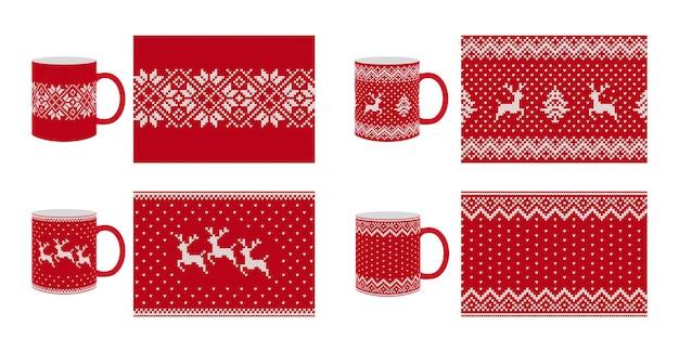 Nahtloses strickmuster. weihnachtsbeschaffenheit. vektor. strickhintergrund einstellen. roter festlicher fairisle-druck