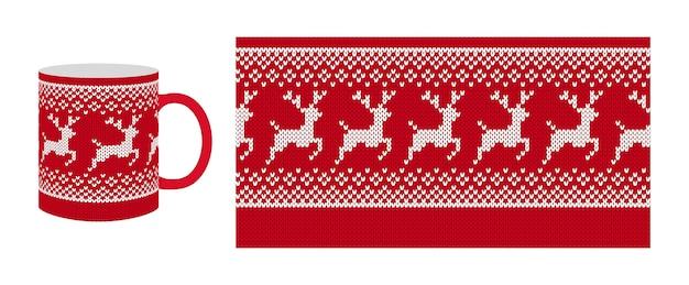 Nahtloses strickmuster. weihnachtsroter randdruck. . gestrickte textur mit rentier.