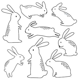 Nahtloses süßes häschen mit doodle-stil-design