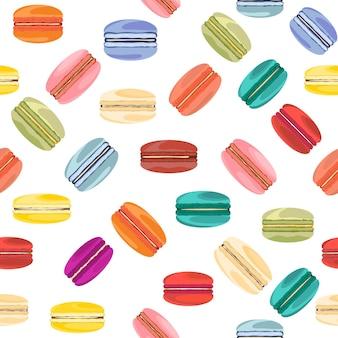Nahtloses süßes muster mit französischen makronen
