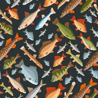 Nahtloses süßwasserfischmuster