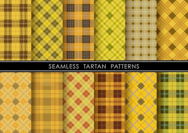 Nahtloses tartan-plaid-set, horizontal und vertikal wiederholbar.