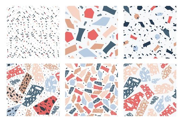 Nahtloses terrazzo-musterset mit geometrischer speckle-textur des cartoons
