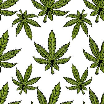 Nahtloses textilmuster mit natürlichen bio-öko-pflanzenblättern von marihuana, cannabis, unkraut, hanf-cbd-öl, knospen-medizinischem cannabis-thc. moderne druckdesignillustration für plakat, aufkleber, fahne, kleidung.