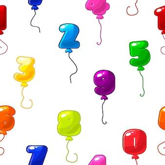 Nahtloses texturmuster der hellen ballonzahlen. mehrfarbige ballonfiguren formen für hintergrund.