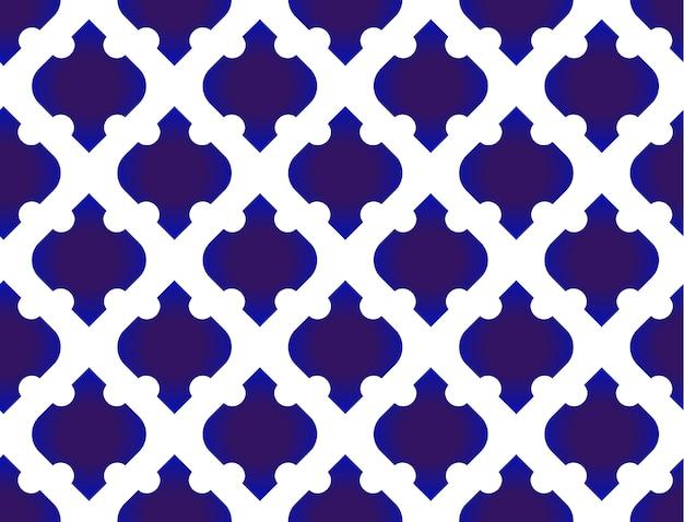Nahtloses thailändisches muster. abstraktes blaues und weißes modernes muster