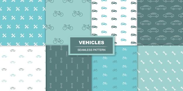 Nahtloses transparentes muster der autos und der fahrräder