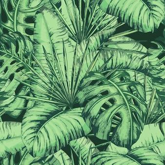 Nahtloses tropisches blättermuster für modetextilien, schwarze linie pflanzenvektorillustration.