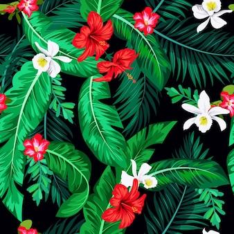 Nahtloses tropisches helles muster mit bananenblättern für textil