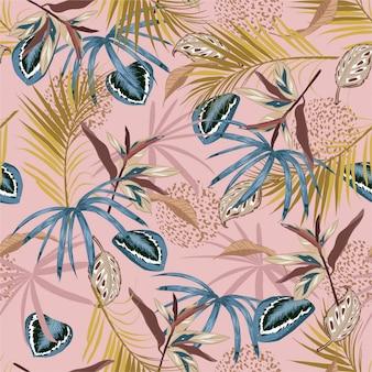 Nahtloses tropisches muster des schönen retro- vektors, exotisches tropisches laub, mit waldpflanzen, monsterablatt, palmblättern, tierhaut, blume, modernes helles sommerdruckdesign