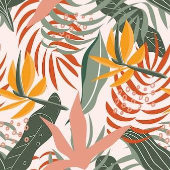 Nahtloses tropisches muster des sommers mit bunten blättern