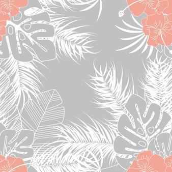 Nahtloses tropisches muster des sommers mit monstera palmblättern und anlagen auf grauem hintergrund