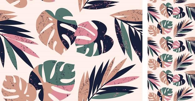 Nahtloses tropisches muster mit monstera und palmblättern