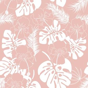 Nahtloses tropisches muster mit weißen monstera blättern und blumen auf rosa hintergrund