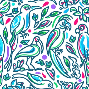 Nahtloses tropisches muster sommer helle blumen exotische blätter vögel papagei des paradieses im dschungel