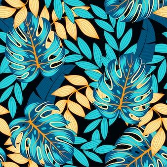 Nahtloses tropisches sommermuster mit hellen blättern und pflanzen
