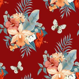 Nahtloses tropisches sommermuster mit orchideenblüten für textil Premium Vektoren