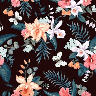 Nahtloses tropisches sommermuster mit orchideenblüten für textil