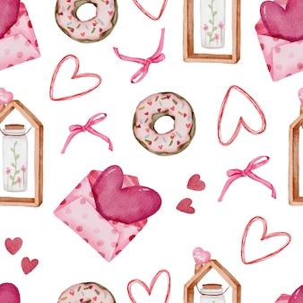 Nahtloses valentinsmuster mit herz, donutbändern und mehr.