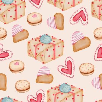 Nahtloses valentinsmuster mit herz, geschenken, cupcakes und mehr.