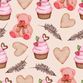 Nahtloses valentinsmuster mit teddy, cupcake, blättern und mehr.