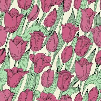 Nahtloses vektorblumenmuster mit tulpen. hand gezeichnete abbildung. retro.