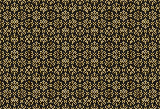 Nahtloses vektormuster damastgold verzierte vignettenwirbel der weinleseverzierung