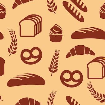 Nahtloses vektormuster der bäckerei