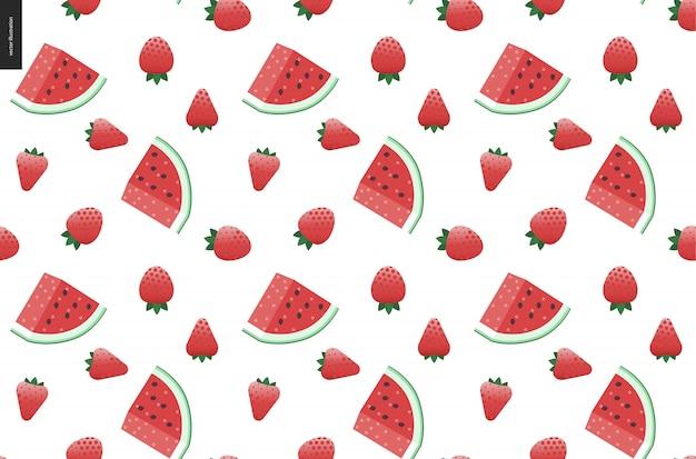 Nahtloses vektormuster der erdbeeren und der wassermelone