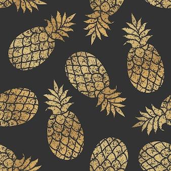 Nahtloses vektormuster der goldenen ananas