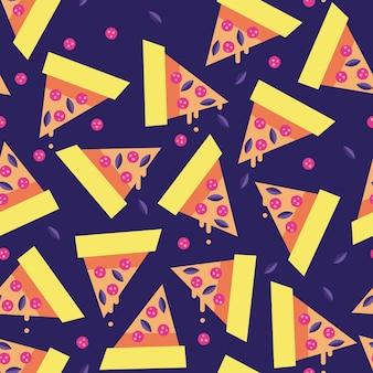 Nahtloses vektormuster der pepperonipizzascheibe mit blauem hintergrund. digitales papier des lebensmittelzusammenfassung