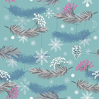 Nahtloses vektormuster des feiertags mit blättern für weihnachten