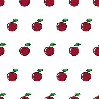 Nahtloses vektormuster mit äpfeln, die fruchtikone auf weiß wiederholen