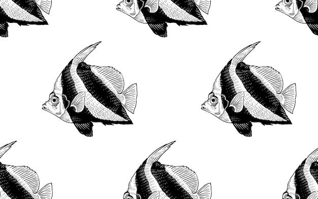 Nahtloses vektormuster mit dekorativen fischen unter wasser meeresboden und tiere