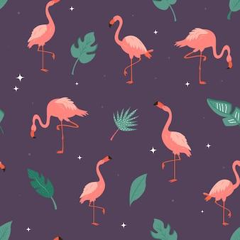 Nahtloses vektormuster mit flamingos und tropischen blättern. geeignet für stoff, textildrucke, geschenkverpackungen