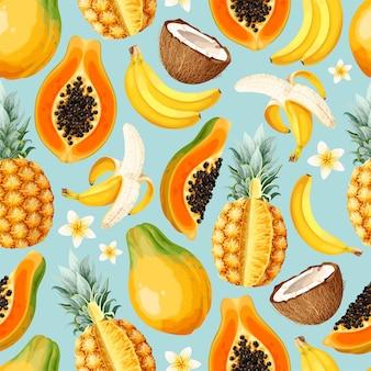 Nahtloses vektormuster mit geschnittenen exotischen früchten