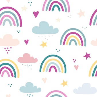 Nahtloses vektormuster mit gezeichneten regenbogensternen und -herzen skandinavischer kinderbeschaffenheit